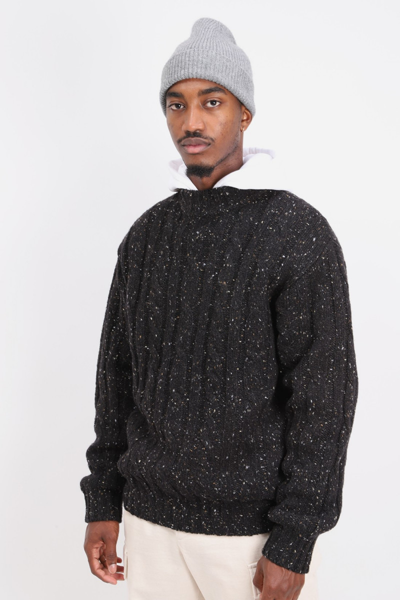 Cable mock neck nep 3g Black