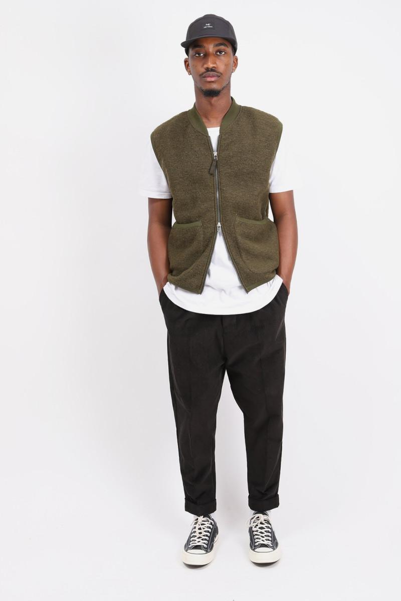 Zip waistcoat wool fleece Olive