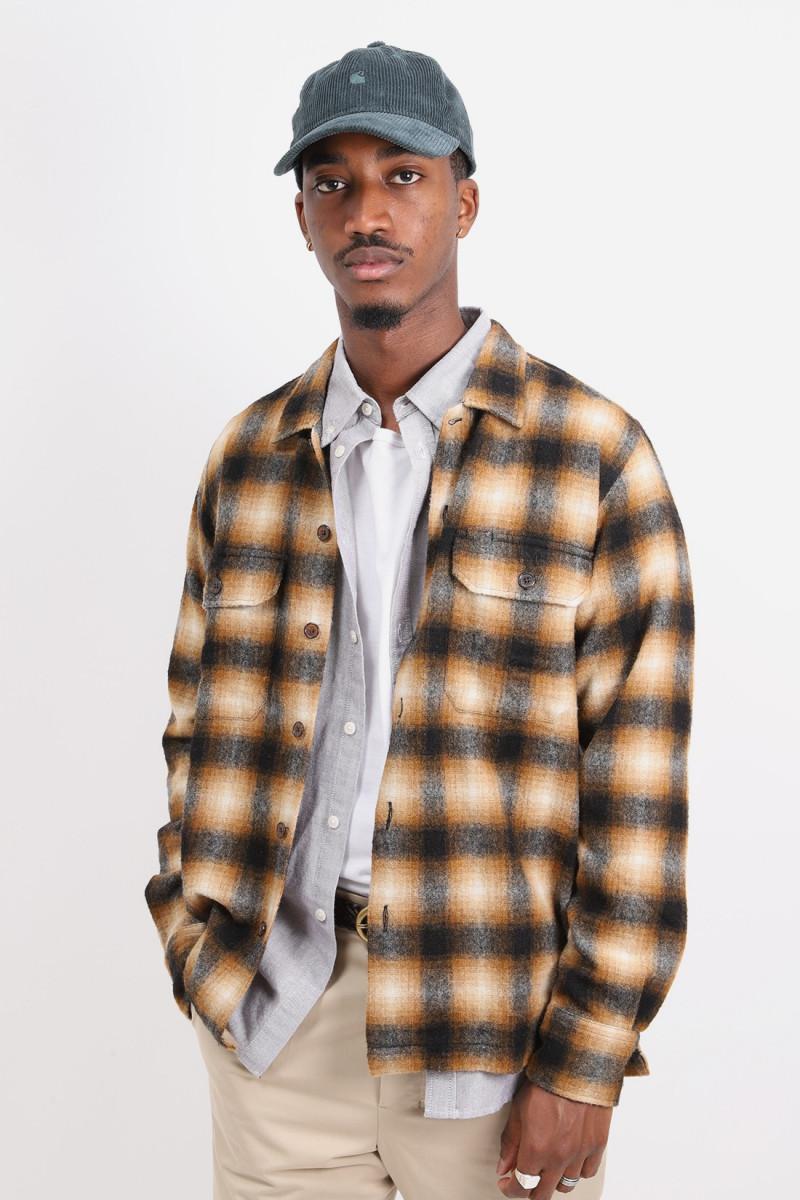 Utility shirt wool plaid Brown check