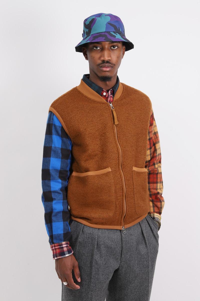 Zip waistcoat wool fleece Rust