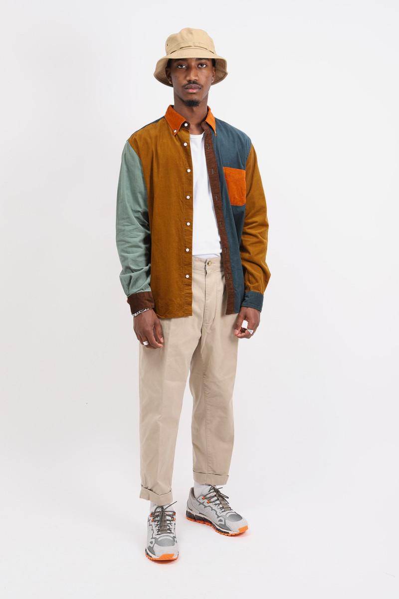 B.d. panel 21w corduroy shirt Orange collar