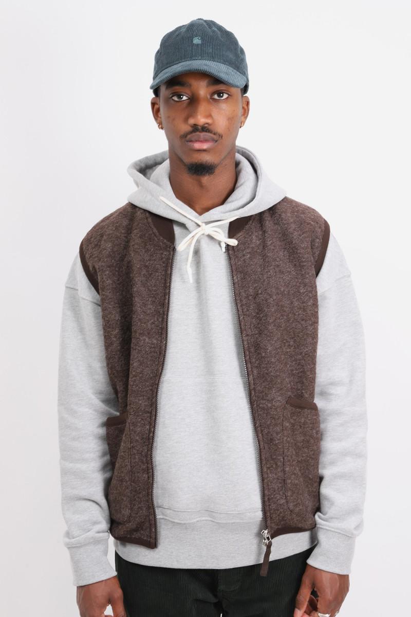 Zip waistcoat wool fleece Brown
