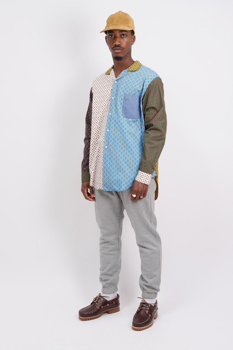 Open collar shirt Dobby print paisley