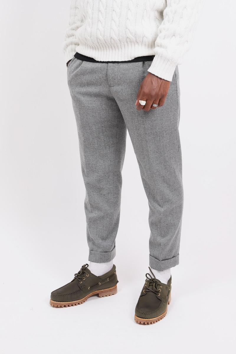 1pleat wool cashmere pant Grey