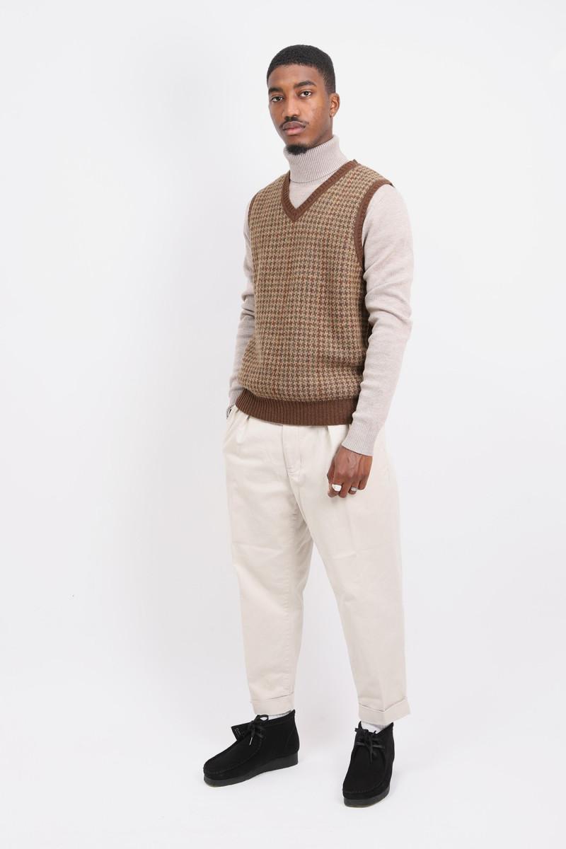 Check vest 9g Brown