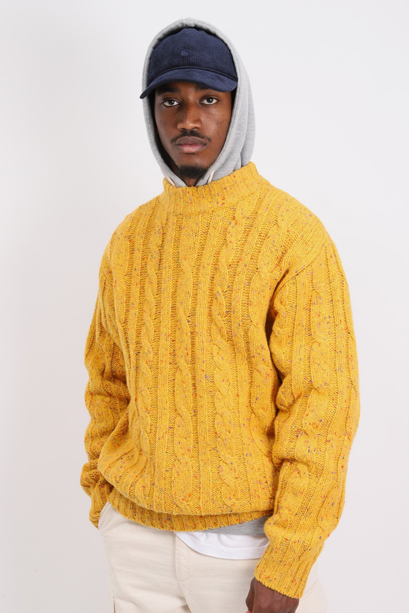 Cable mock neck nep 3g Yellow