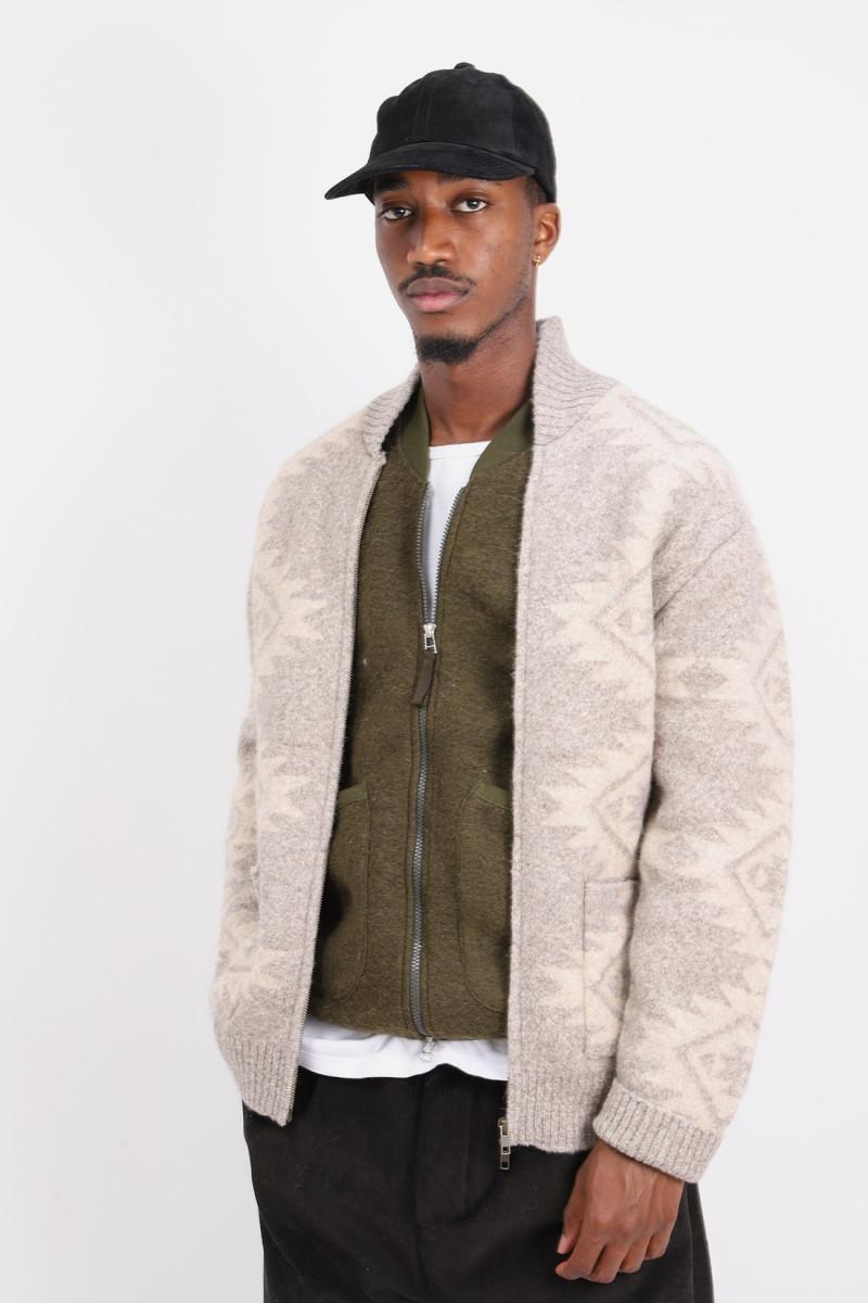 Zip knit blouson snow 5g Beige