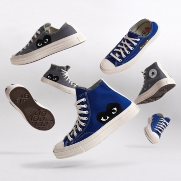"""New Drop Chuck taylor 70 CDG Play Converse """"Blue & Gray"""" available for girls and guys@converse @commedesgarcons #conversecdg"""